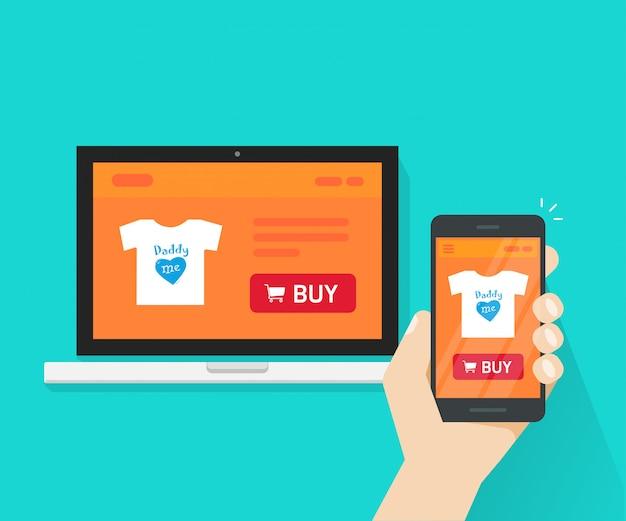 Conception de boutique internet réactif ou page de site web de boutique en ligne a montré sur ordinateur portable et smartphone en main illustration plat de bande dessinée