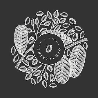 Conception de branches et de noyaux de phistachio dessinés à la main