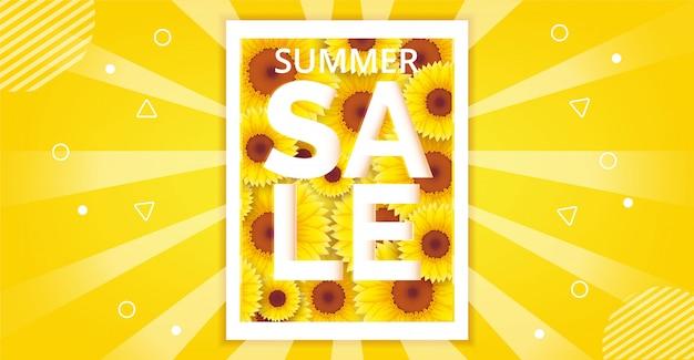 Conception brillante de fond de vente d'été avec des tournesols en fleurs. modèle d'illustration