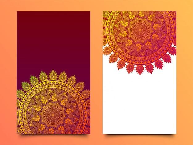 Conception brillante de mandala dans deux options de couleur différentes.