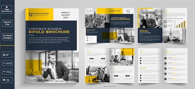 Conception de brochure abstraite de 8 pagesconception de brochure de profil d'entreprisebrochure à demi-plibrochure à deux volets
