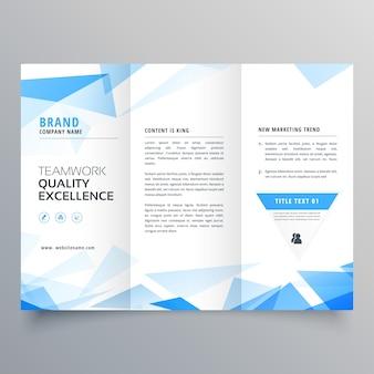 Conception de brochure d'affaires trifold forme abstraite bleu