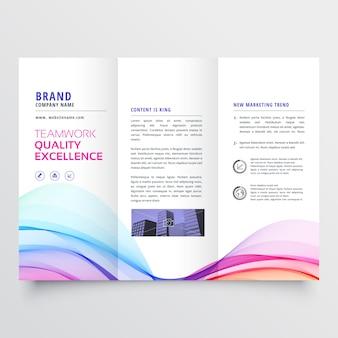 Conception de brochure d'affaires trifold ondulé coloré