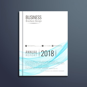 Conception de brochure commerciale bleue ondulée
