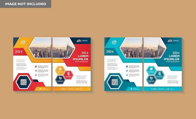 La conception de la brochure couvre le dépliant d'affiche de rapport annuel de mise en page moderne au format a4 avec une forme géométrique colorée