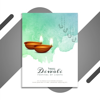 Conception de brochure décorative happy diwali indian festival