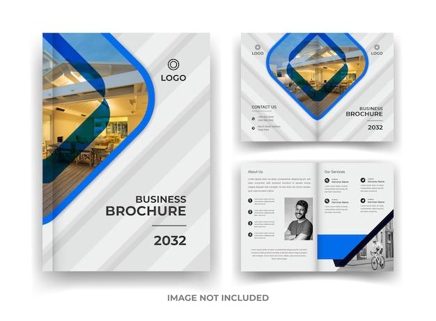 Conception de brochure d'entreprise de 04 pages bleu et noir et modèle de rapport annuel et de magazine