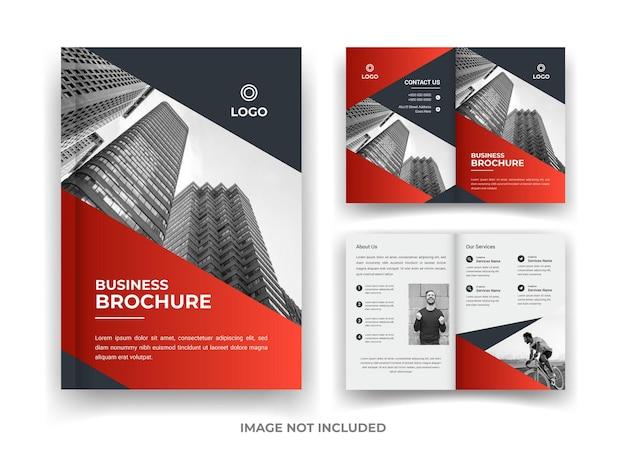 Conception de brochure d'entreprise de 04 pages rouge et noir et modèle de rapport annuel et de magazine