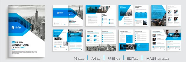 Conception de brochure d'entreprise moderne de couleur bleue