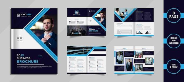 Conception de brochure d'entreprise moderne avec des formes créatives, des ombres et des informations de couleur bleu ciel et profond.