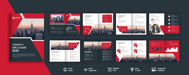 Conception de brochure d'entreprise noir et rougeâtre de 16 pages