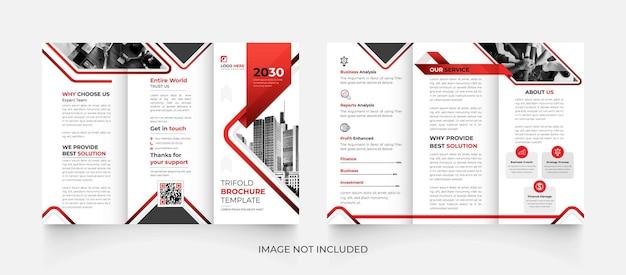Conception de brochure d'entreprise à trois volets moderne noir et rouge