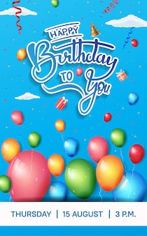 Conception de brochure joyeux anniversaire pour la célébration avec élément d'anniversaire coloré