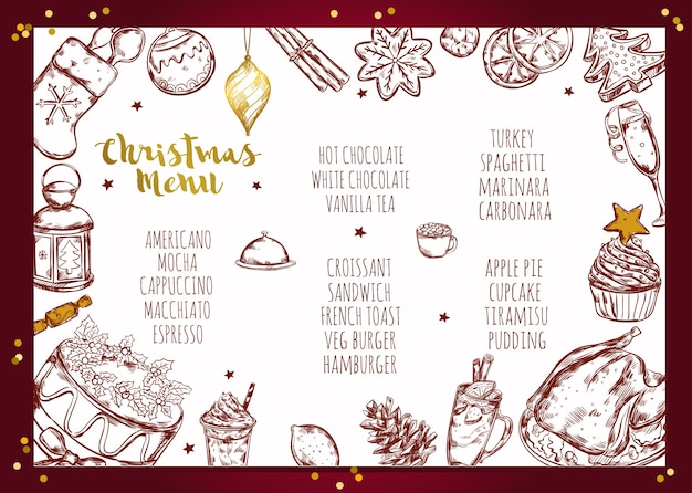 Conception de brochure de menu de noël