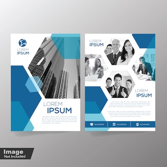 Conception de brochure avec modèle d'élément polygonal
