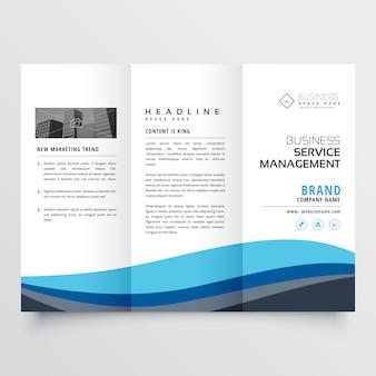 Conception de brochure moderne à trois volets en forme d'onde bleue