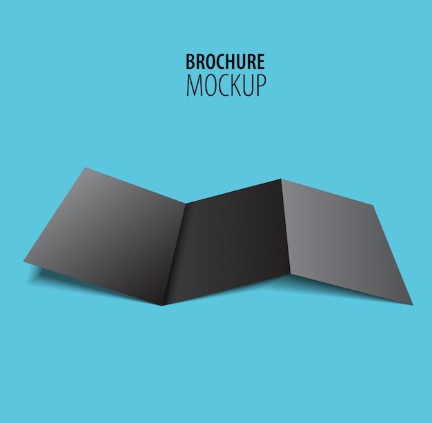 Conception de la brochure noire isolée sur bleu.