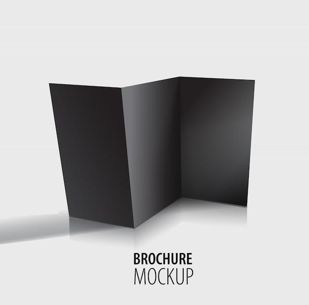Conception de brochure noire isolée sur fond gris.