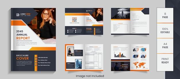 Conception de brochure de rapport annuel d'entreprise de 8 pages avec des formes créatives et une maquette