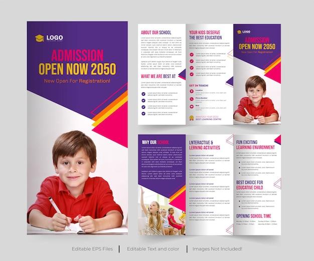 Conception de la brochure à trois volets sur l'éducation ou de la brochure sur l'éducation