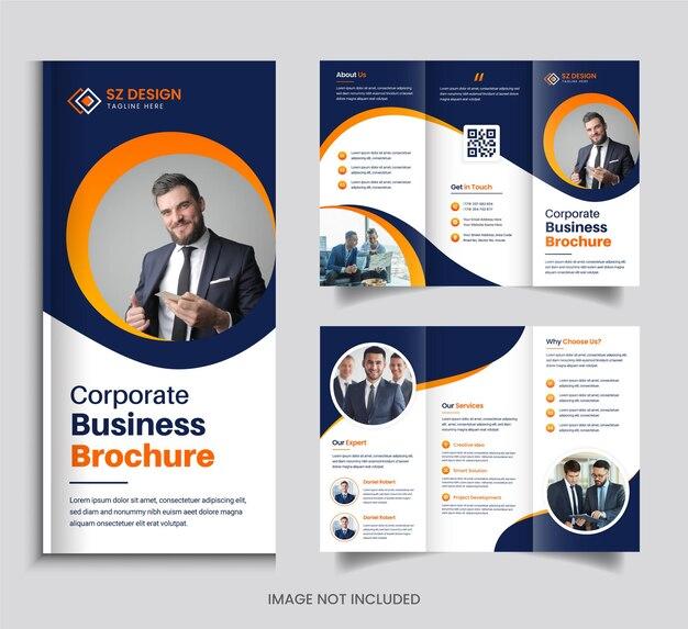 Conception de brochure à trois volets entreprise créative avec des formes géométriques de couleur orange et noire