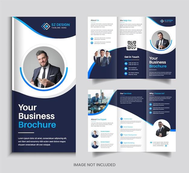 Conception de brochure à trois volets d'entreprise avec des formes géométriques de couleur bleue et noire