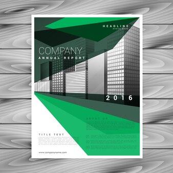 Conception de la brochure verte avec des formes géométriques abstraites