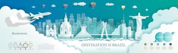 Conception de brochures commerciales modernes pour la publicité sur les monuments du brésil avec des infographies