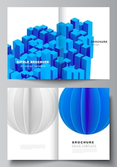 Conception de brochures à deux volets, composition de rendu 3d avec des formes bleues géométriques réalistes dynamiques en mouvement.