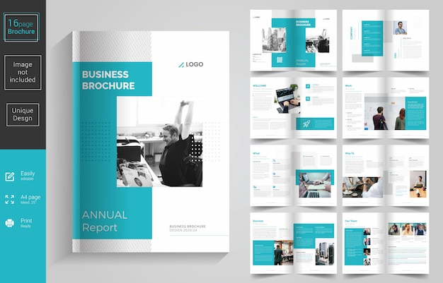 Conception de brochures d'entreprise minimal pages