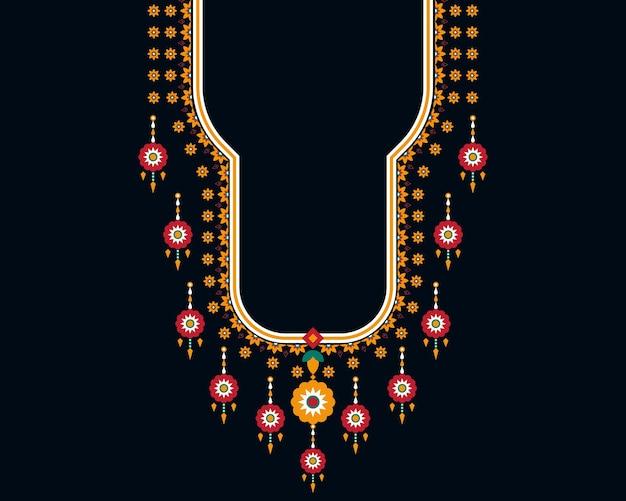 Conception de broderie de collier de motif oriental ethnique géométrique