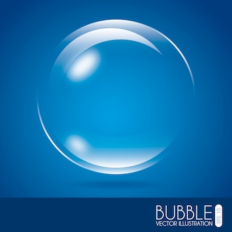 Conception de bulles au cours de l'illustration vectorielle fond bleu