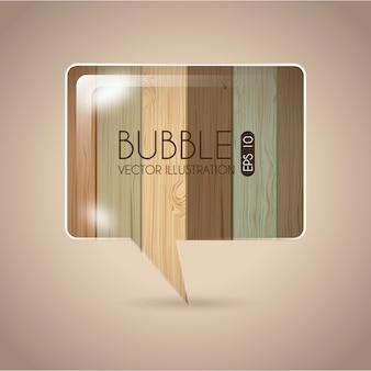 Conception de bulles au cours de l'illustration vectorielle fond en bois