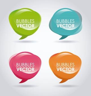 Conception de bulles au cours de l'illustration vectorielle fond gris
