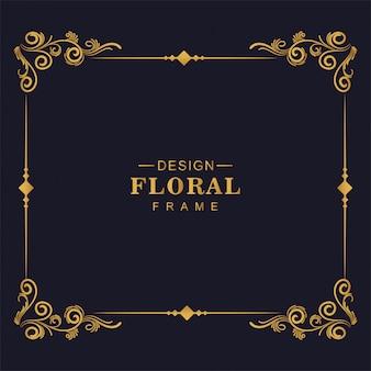 Conception de cadre d'angle floral artistique décoratif