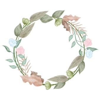 Conception de cadre d'anneau de fleur aquarelle