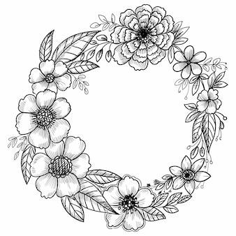 Conception de cadre de croquis décoratif fleur dessiné à la main