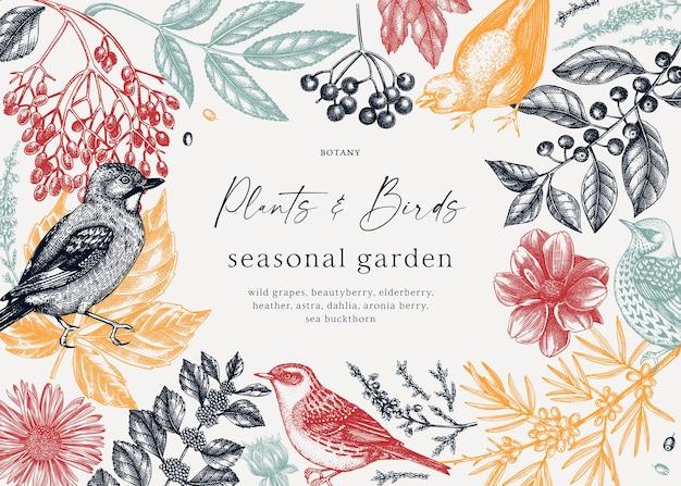 Conception de cadre élégant avec des feuilles d'automne, des fleurs de baies et des croquis d'oiseaux en couleurs