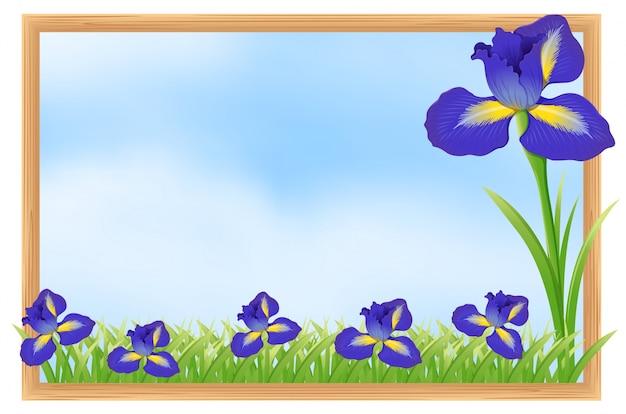 Conception de cadre avec des fleurs bleues
