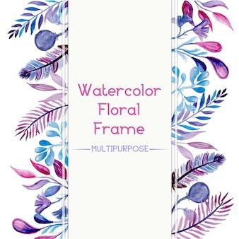 Conception de cadre floral aquarelle pourpre et bleu à la main