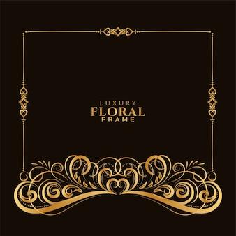 Conception de cadre floral décoratif doré élégant ornemental