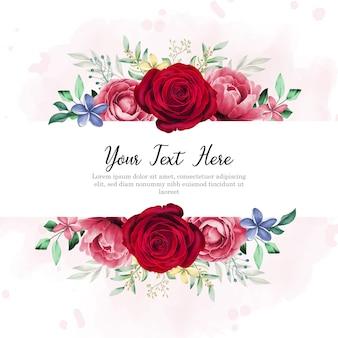 Conception de cadre floral avec dessin à la main et belle rose rouge