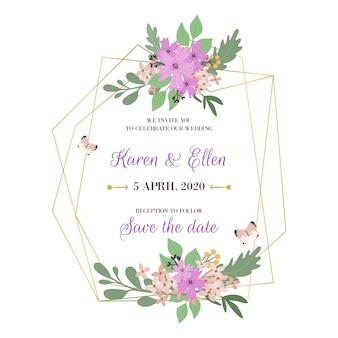Conception de cadre floral de mariage élégant