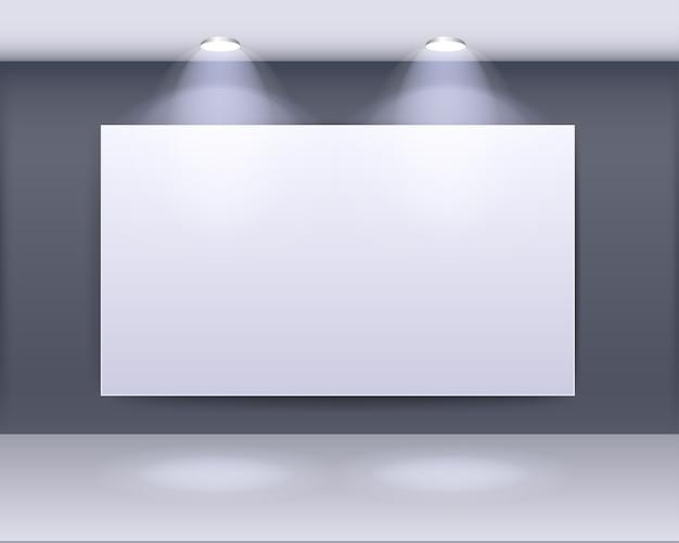 Conception de cadre de galerie d'art avec des projecteurs