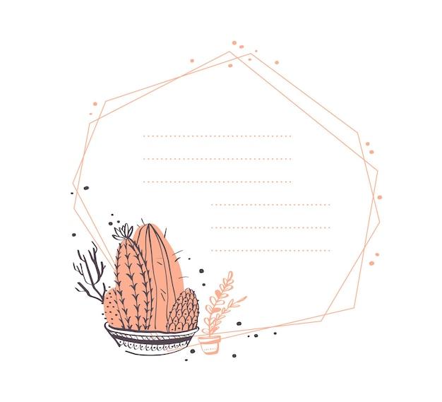 Conception de cadre géométrique abstrait de vecteur avec cactus en pot, branches, arrangements d'éléments floraux isolés sur fond blanc. style de croquis dessinés à la main. bon pour l'invitation de mariage, la carte, l'étiquette, etc.