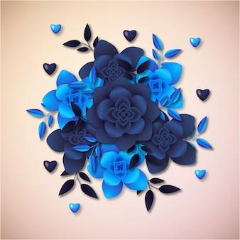 Conception de cadre d'illustration 3d fleurs en papier