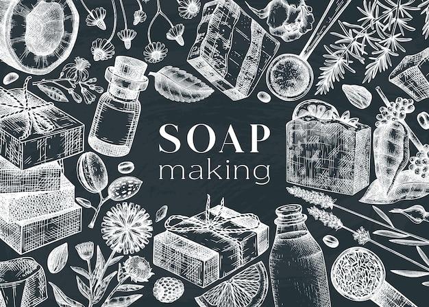 Conception de cadre d'ingrédients de fabrication de savon sur tableau noir
