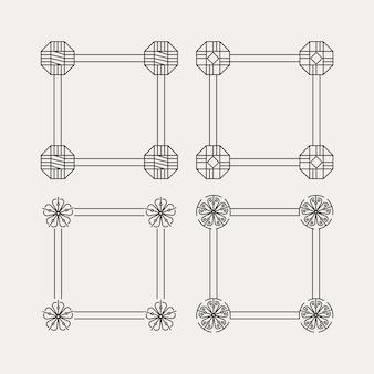 Conception de cadre de ligne minimaliste moderne de motif traditionnel coréen
