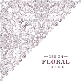 Conception de cadre motif floral décoratif ethnique