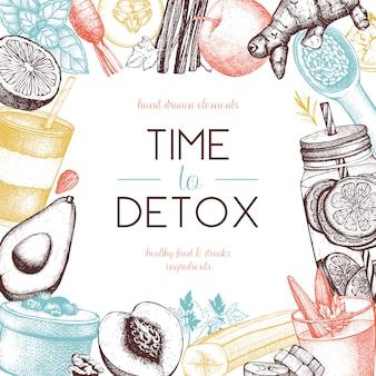 Conception de cadre de nourriture et de boissons saines. fond d'été avec des légumes dessinés à la main, des fruits, des noix, des croquis d'herbes. illustration des ingrédients détox.